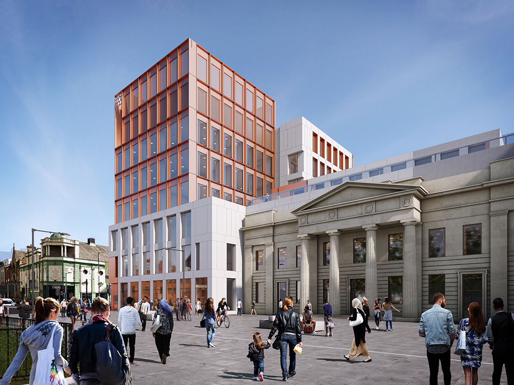 An artist's impression of the new Arts and Humanities building, currently under construction, which will host the Poetry Library