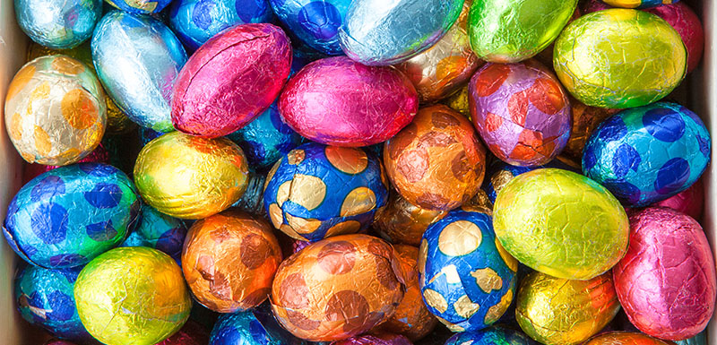 Foil chocolate eggs