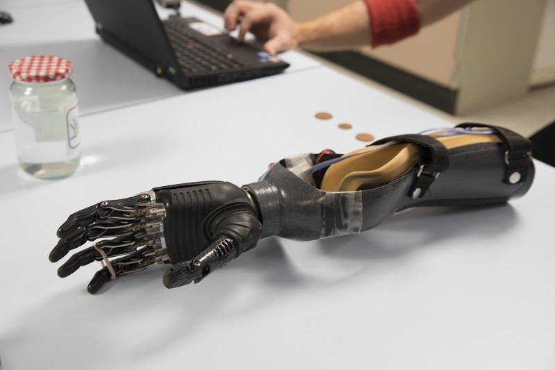 The prosthetic hand simulator built for the study