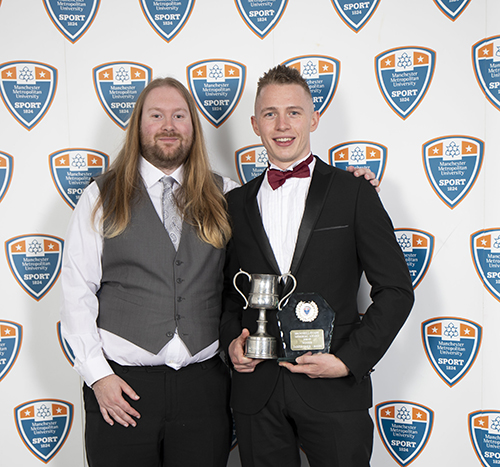 James Carr - winner of the Brownhill-Evans Memorial Award with Union Sports Officer Ross Sharmon.