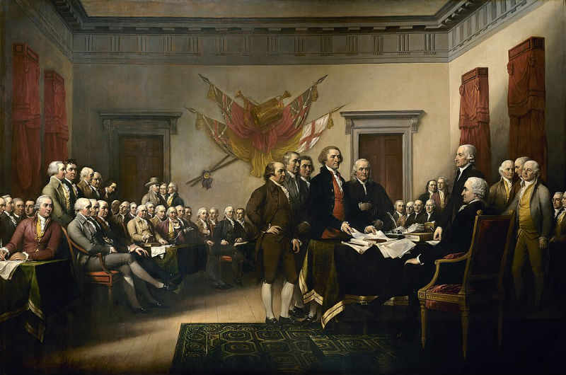 Divisions in American politics are not new to the Trump presidency, and instead hark back to the signinging of the Declaration of Independence, says Gervase Phillips (image: John Trumbull Public domain])