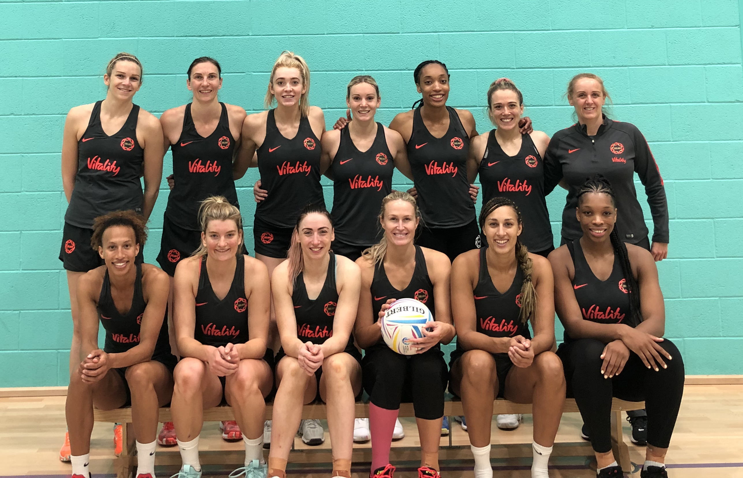 The England netball team at Platt Lane