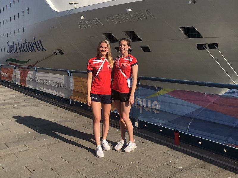 Katie Matts (left) and Chloe Golding (right) at the World University Games in Naples