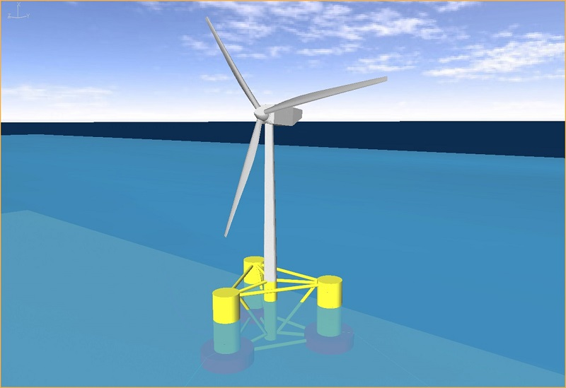 A computer model of an offshore wind turbine supported by a semi-submerged triangular structure