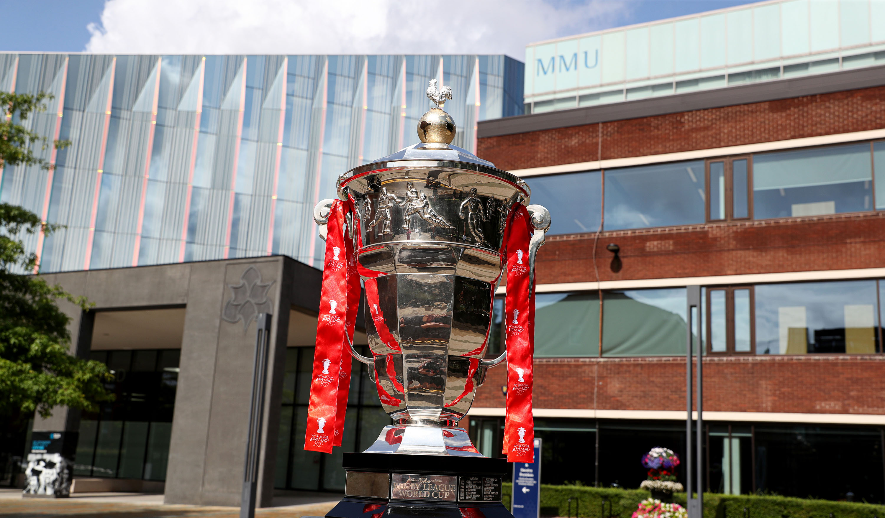 The Rugby League World Cup trophy at Manchester Metropolitan