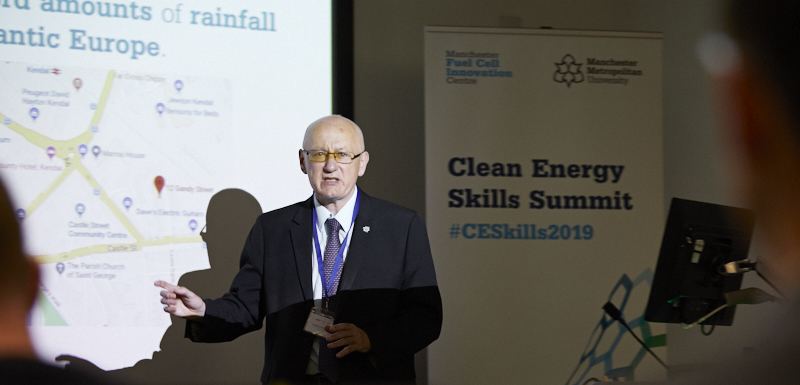 Professor Andy Gibson, Pro-Vice-Chancellor of the Faculty of Science and Engineering, speaking at Manchester Metropolitan University's Clean Energy Skills Conference