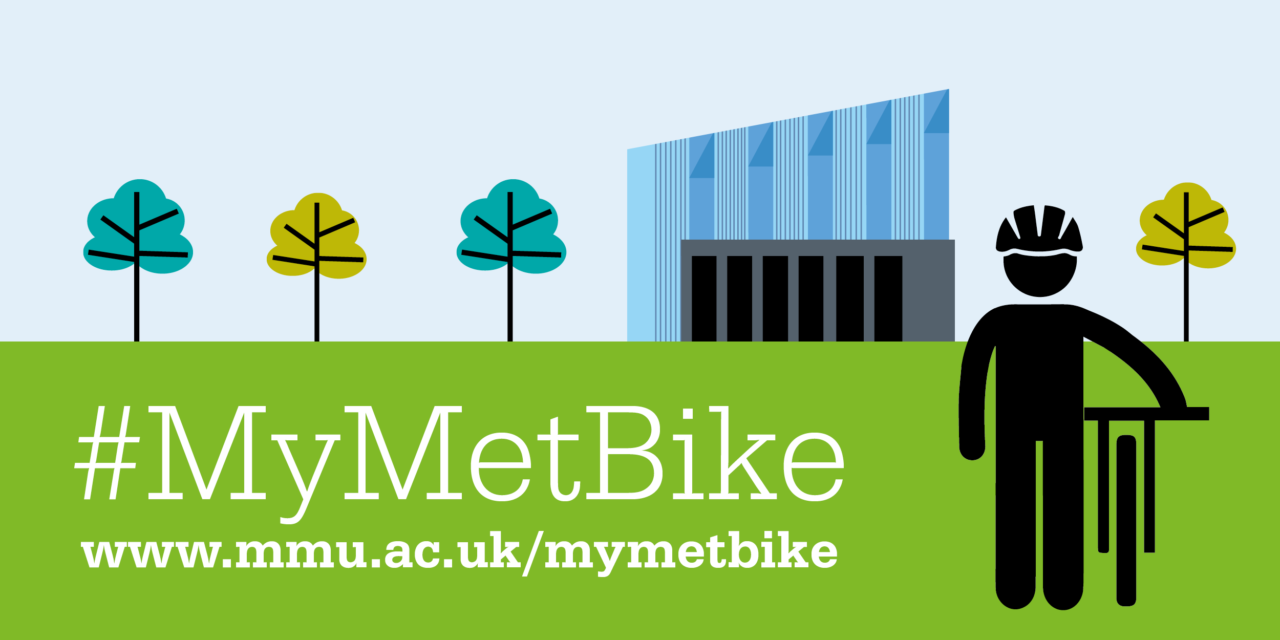 #MyMetBike Illustration of figure with bike on campus