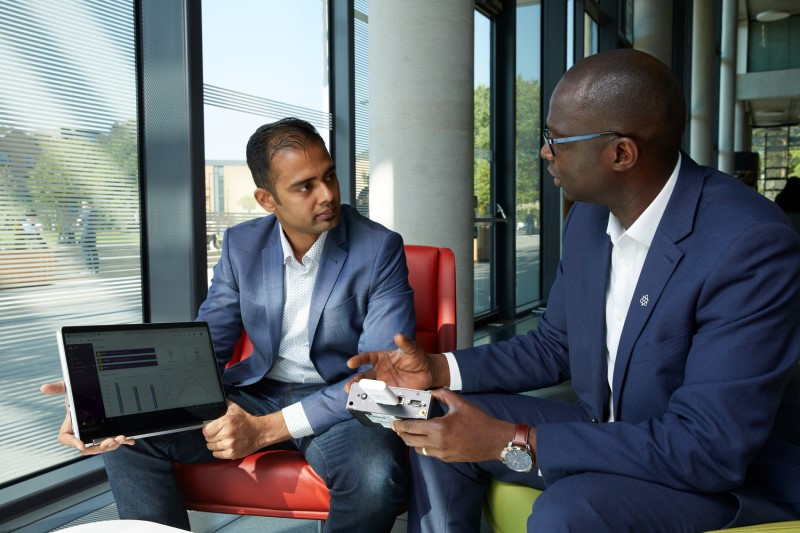 Vijay Natarajan, co-founder and Chief Operating Office of Qbots Energy, with Bamidele Adebisi, Professor in Intelligent Infrastructure Systems