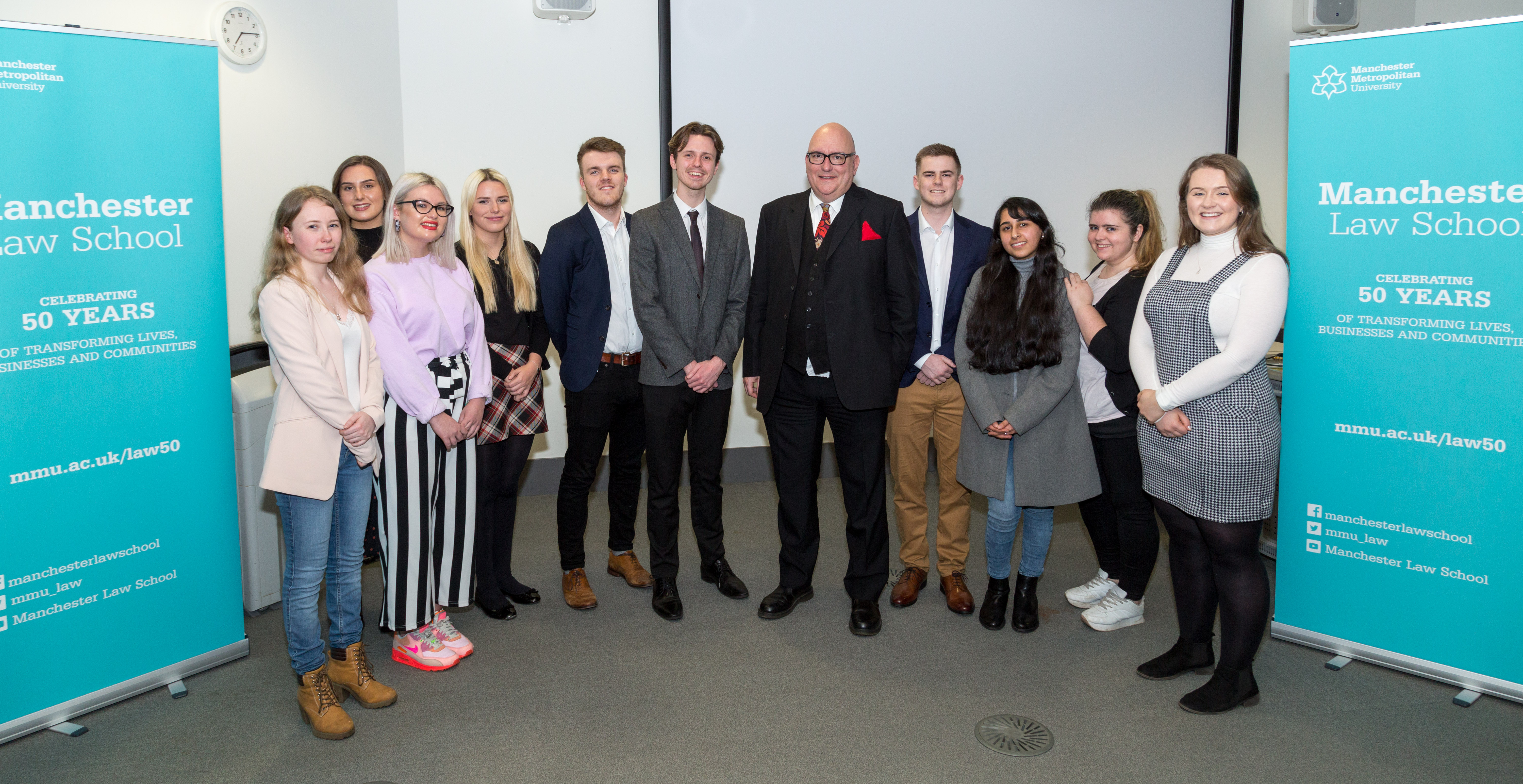 Mr Justice Dove with Manchester Law School students