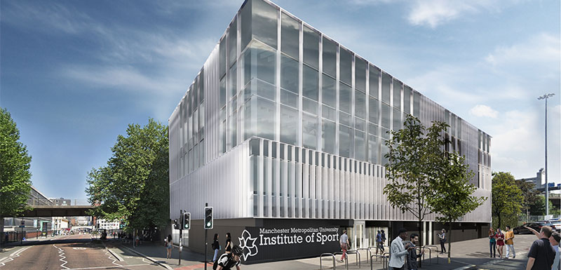 An impression of the entrance of the new Department of Sport and Exercise Sciences building,  the cornerstone of the Manchester Metropolitan University Institute of Sport