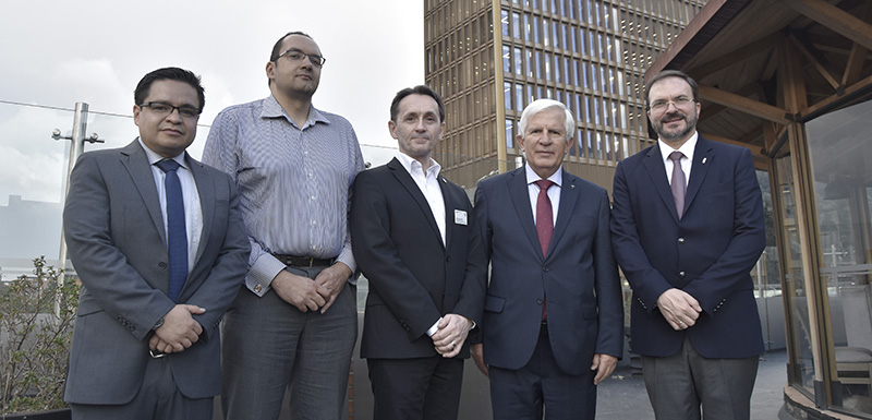Marcus Mayers (second left) and Prof David Bamford (third left) with representatives from the Colombian government
