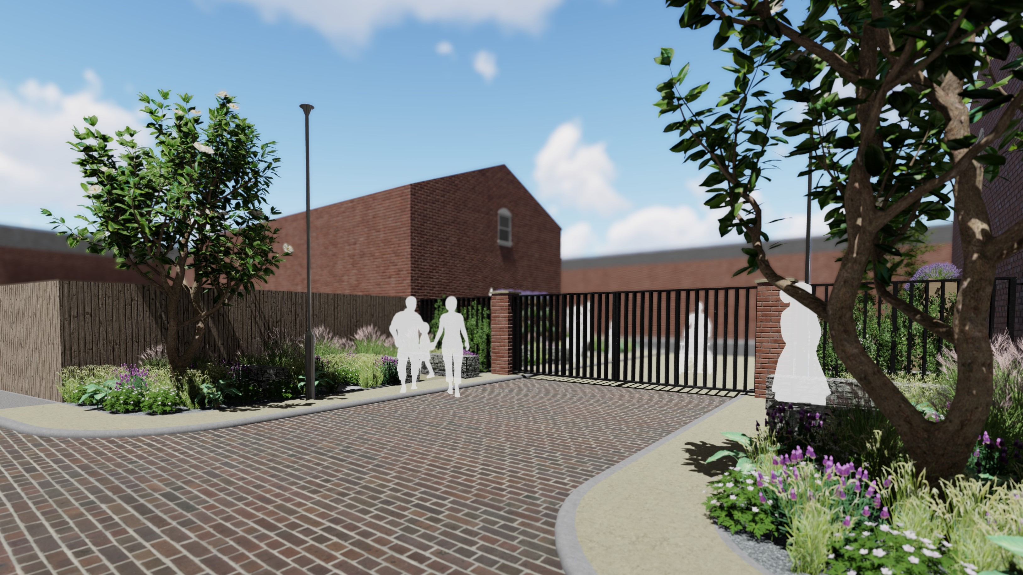 Visualisations of the completed Heron Street Community Garden