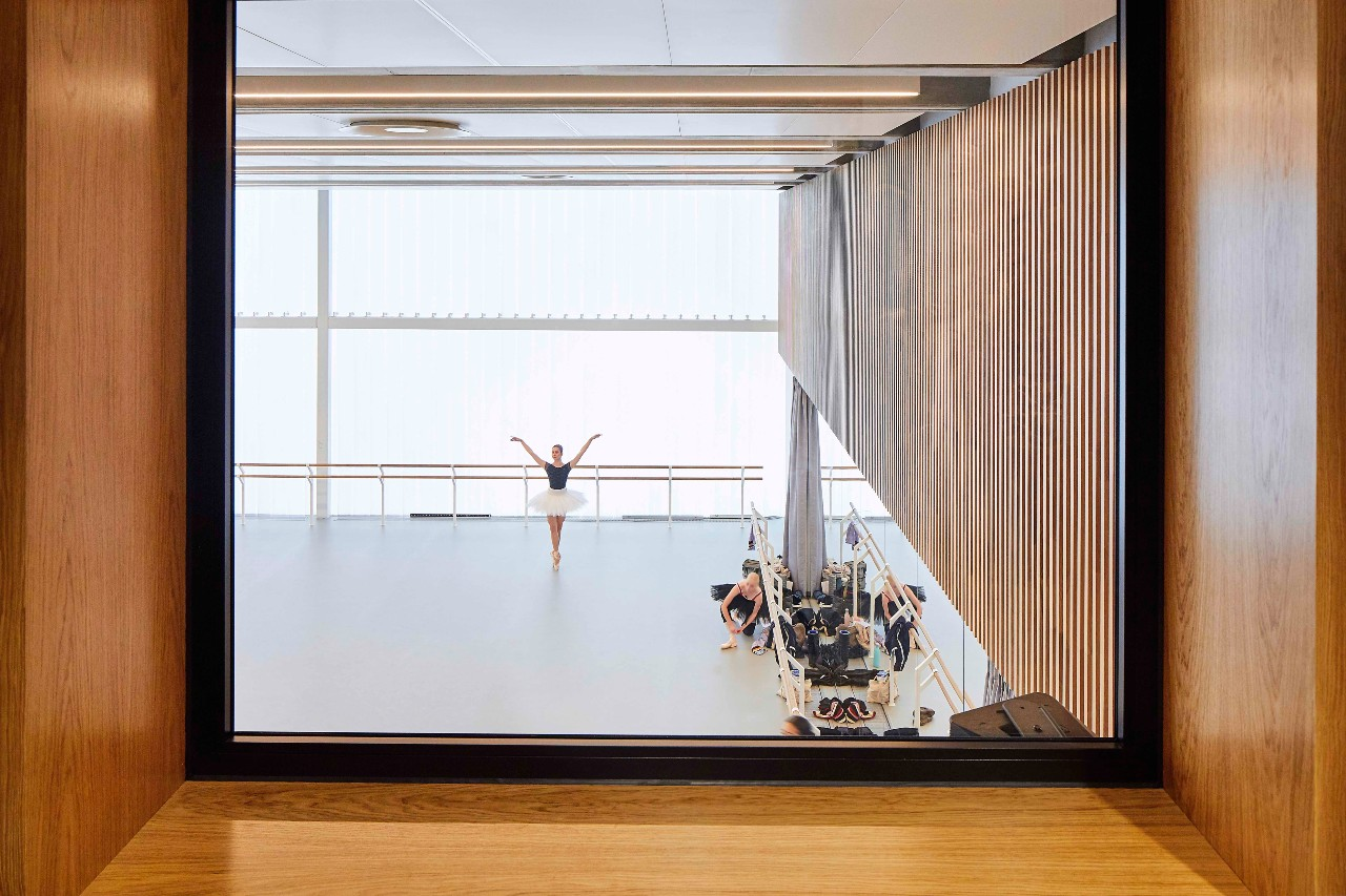 Professor Kevin Singh's space* studio were commissioned as interior designers on Glenn Howells Architects' award-winning new home for the English National Ballet (image: Hufton and Crow)