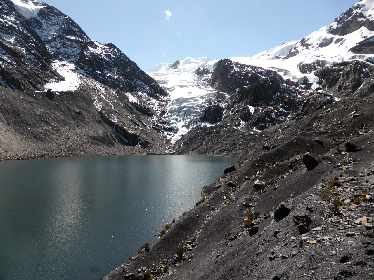Glacier and glacier lake in the Bolivian Andes. Image by Dr Simon Cook