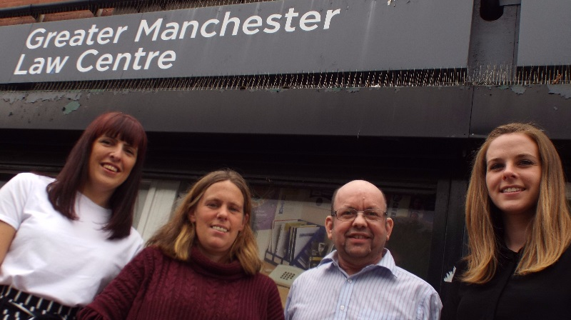 Emma Goodwin, Pro Bono Director at Manchester Law School at Manchester Metropolitan University; student Samantha Mayer; Greater Manchester Law Centre supervising caseworker Giles Elliott; student Ciara Bartlam
