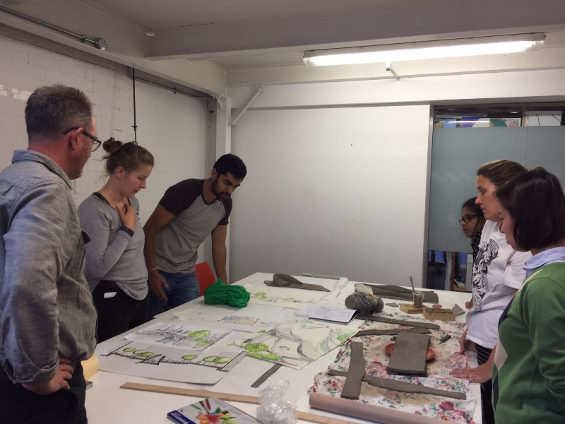 Landscape architect students discuss their proposal