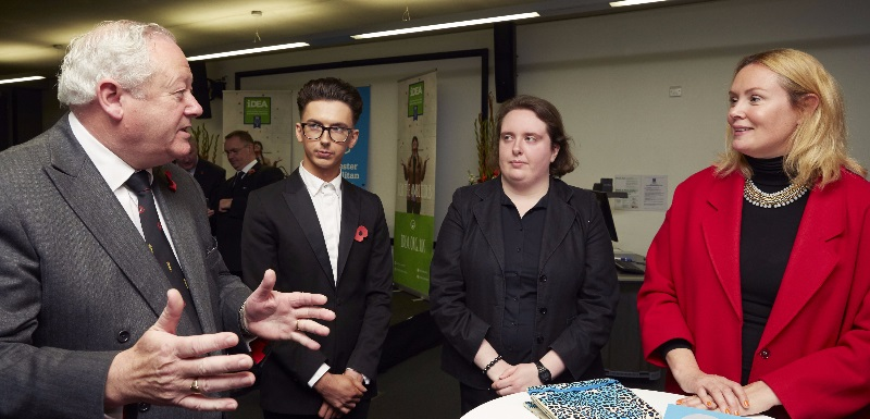 Vice Lord-Lieutenant of Greater Manchester Paul Griffith with students at the iDEA certificate presentation