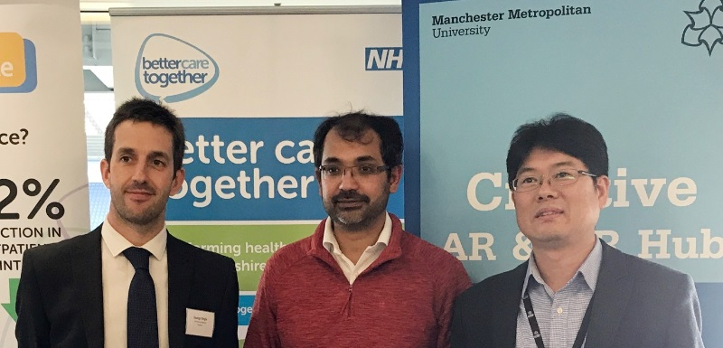 Dr George Dingle, Advice and Guidance Clinical Lead from Bay Health and Care Partners; Dr Farhan Amin, GP and inventor; Dr Timothy Jung, Director of the Creative AR and VR Hub