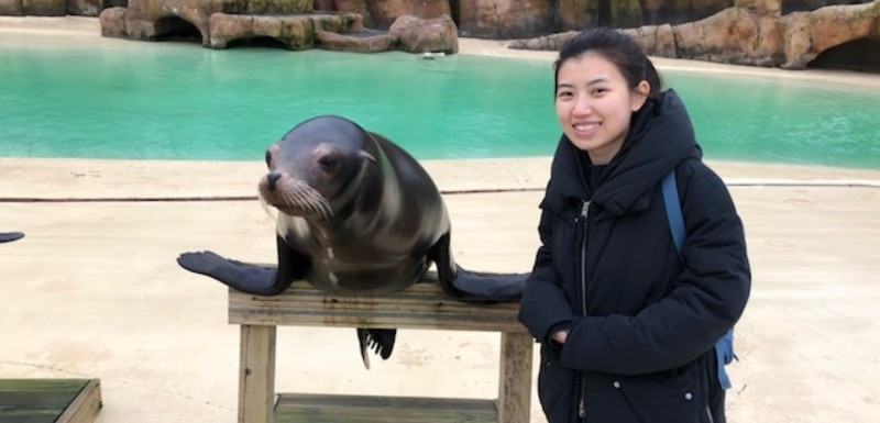 Student composer Jingyu Chen and a sea lion at Blackpool Zoo