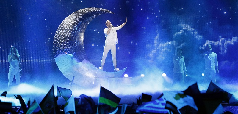 Nathan Trent from Austria performs Running On Air during the Grand Final of the 62nd Eurovision Song Contest in 2017. EPA/SERGEY DOLZHENKO