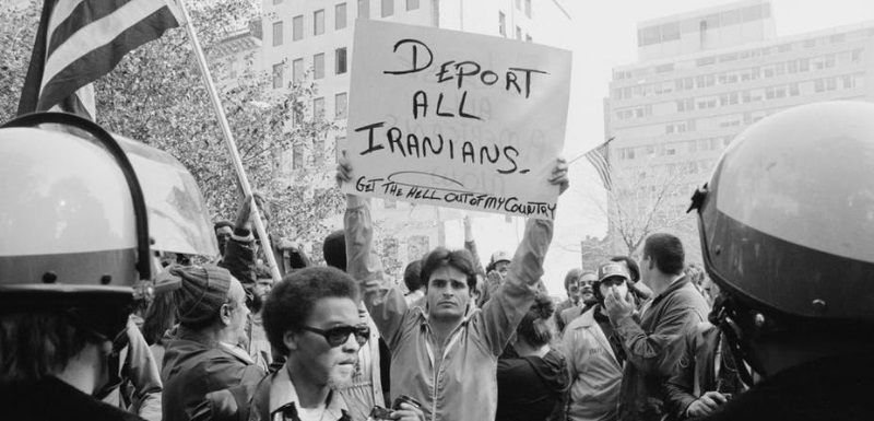 An American protester makes his feelings plain during the Iranian hostage crisis, 1979. Wikimedia Commons
