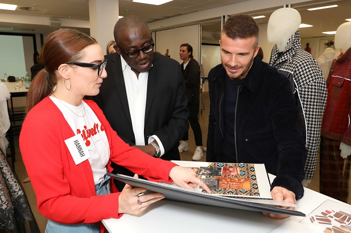 David Beckham and Edward Enninful shown student work