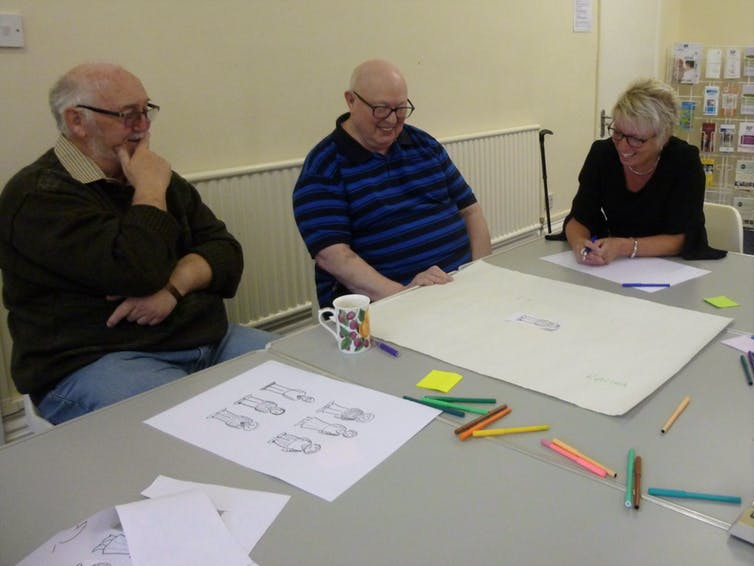 Dementia sufferers workshop their own comic.© Sarah McNicol, Author provided