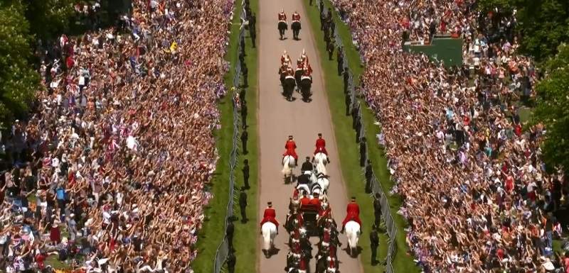 The throng in Windsor for the royal wedding of Prince Harry and Meghan Markle. Pic: BBC