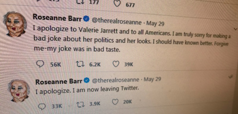 Roseanne Barr's apologies on Twitter after her controversial Tweet about former presidential aide, Valerie Jarrett