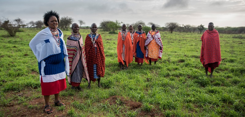 Maasai women on a conservation project in Kenya. Pic: Joan de la Malla
