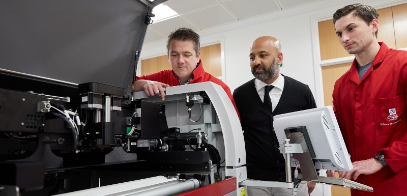Craig Banks, Professor in Electrochemical and Nanotechnology and team leader, left; Amer Gaffar, Director of Partnerships of Manchester Fuel Cell Innovation Centre, centre; Dr Samuel Rowley-Neale, research associate, right