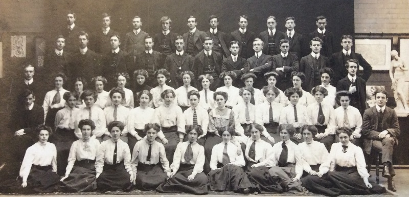 The 1908 cohort of Cheshire County Training College, which nowadays is part of Manchester Metropolitan University's Cheshire campus