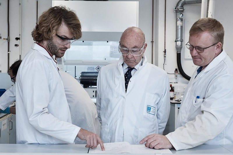 Dr David Megson, Senior Lecturer in Chemistry and Environmental Forensics, left, discusses the results with aviation lawyer and research funder Frank Cannon, centre, and colleague Dr Aidan Doyle, Senior Lecturer, right