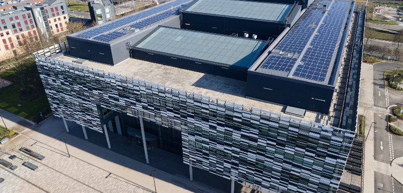 The solar panels on top of the Brooks Building are part of the Triangulum project that won the Public Building Energy Project of the Year award at the 2018 Energy Awards