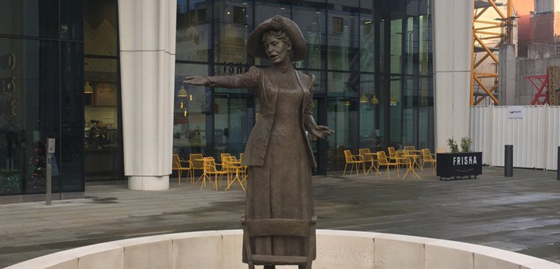 The Emmeline Pankhurst statue in St Peter's Square, Manchester