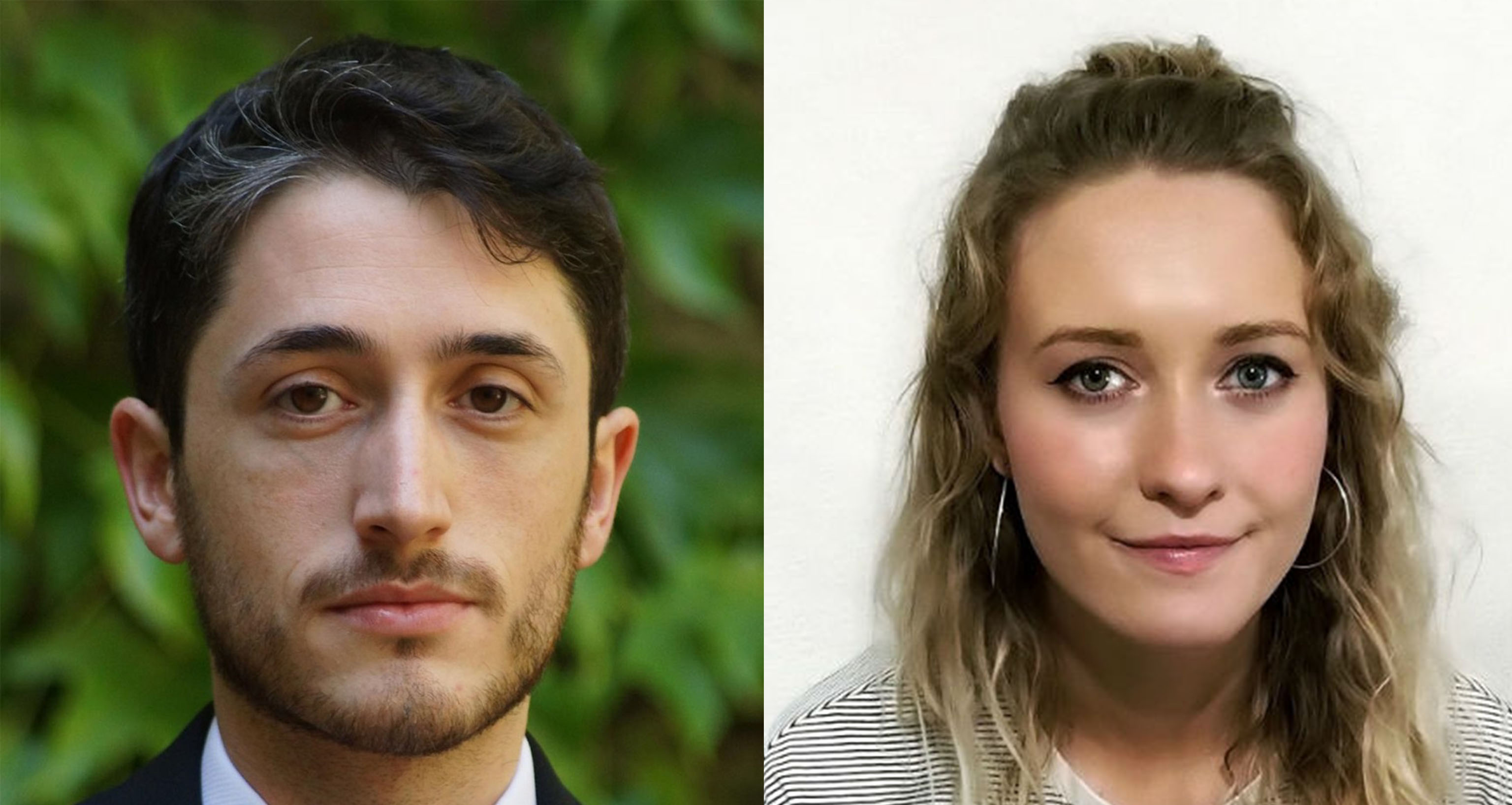 Gabriel Monteros and Molly Underwood, the winners of the 2018 Manchester Writing Competition