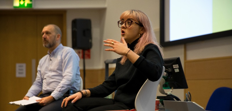 Game of Thrones star Maisie Williams gives an inspirational careers talk to Manchester Metropolitan University students