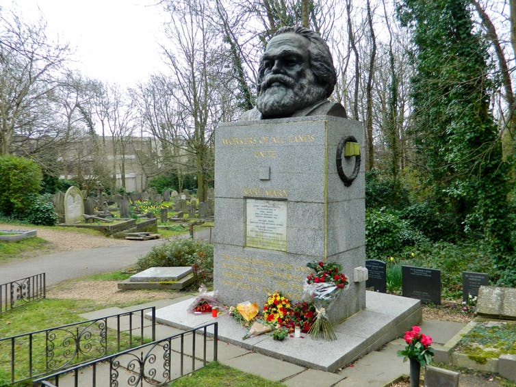 Marx's tombstone was vandalised with a hammer in February 2019. Paasikivi via Wikimedia Commons, CC BY-NC-SA