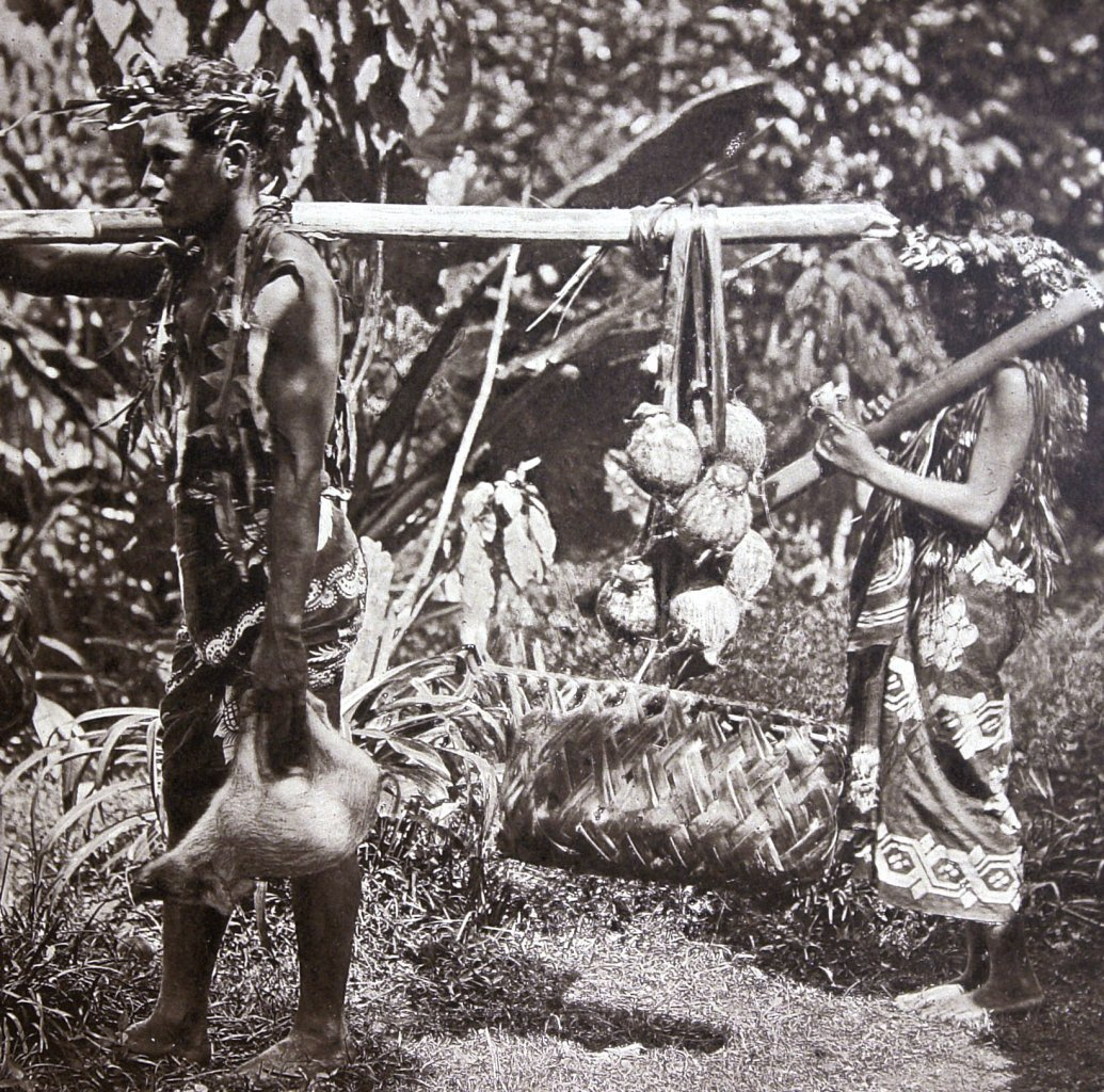 Tahitians wearing imported pareu cloth. Detail of photo by Colonel Stuart Wortley, 1880